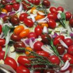 Légumes d'hiver (ou tomates) rôtis à l'ail d'ici
